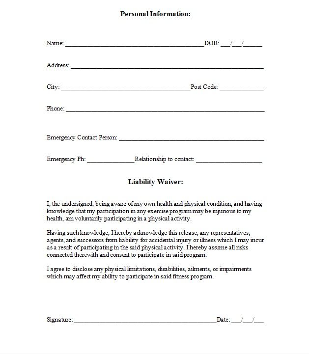 Printable Sample Release And Waiver Of Liability Agreement Form - general liability release form template