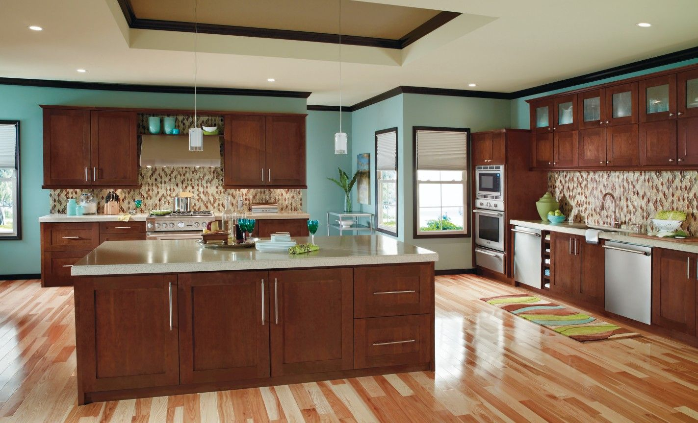 Premium kitchen cabinets by decora in rich arlington finish on cherry wood combine with naturally finished