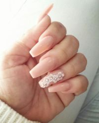 Coffin style nails with 3-d flowers | Nailed it ...