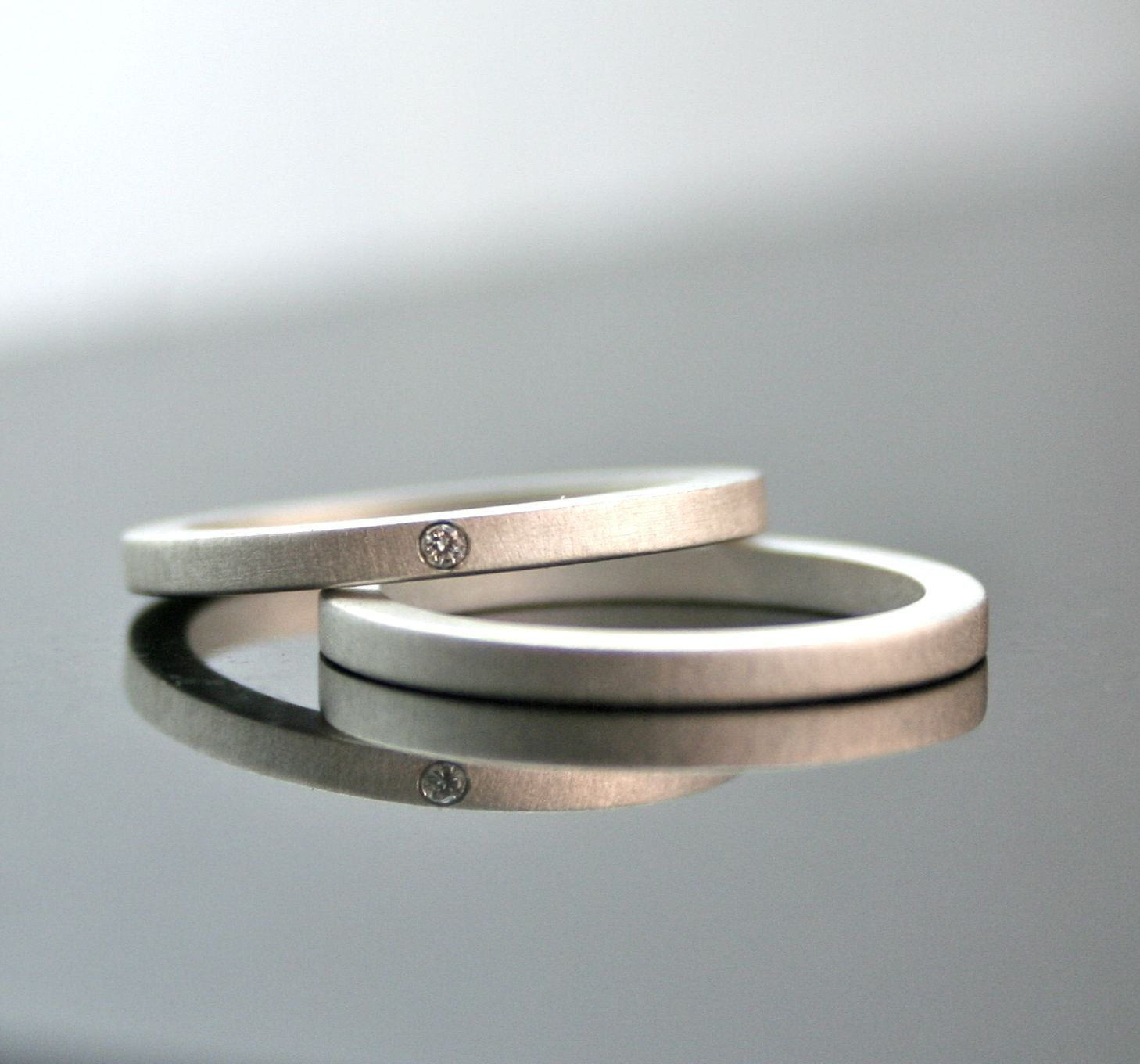 handmade wedding rings One Tiny Diamond Ring Set Simple Wedding Rings Sterling Silver Engagement Ring Set Matte Finish Simple Diamond Ring Modern 2 mm