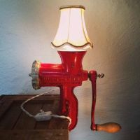 """Rusty Remakes Signature """"Lady in Red"""". Meat Grinder Lamp ..."""