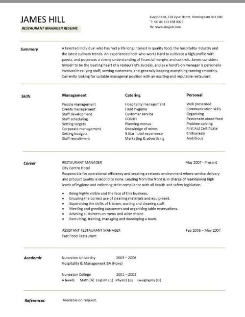 This restaurant resume sample will show you how to demonstrate - restaurant resume skills