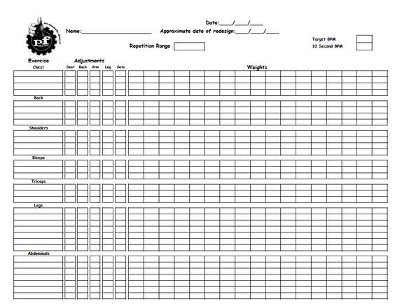Workout Sheet Workout Tracking Sheet Template Workout Sheet - workout program sheet