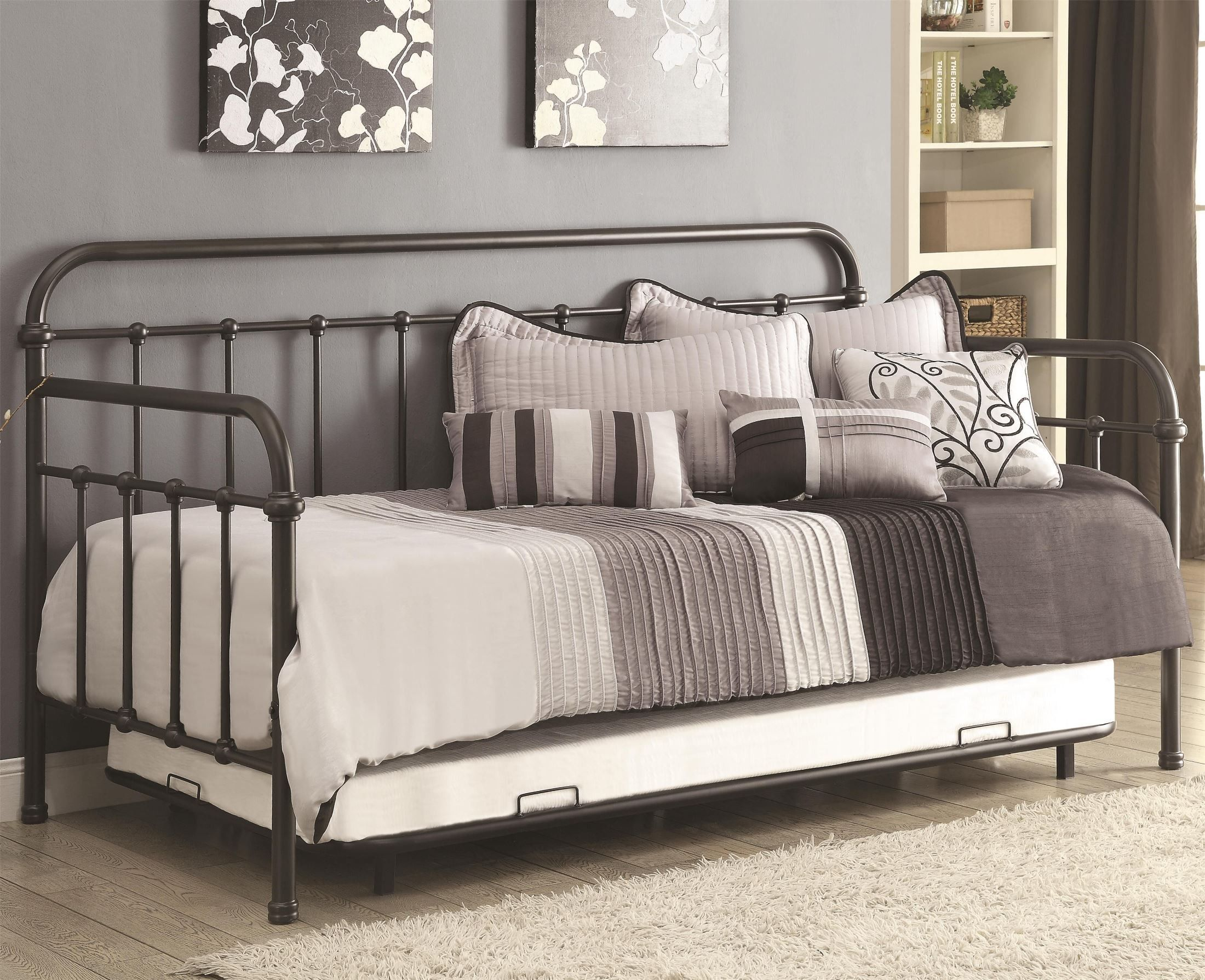 Day Bed Trundle Bed 300398 Dark Bronze Metal Daybed With Trundle Aspen 39s
