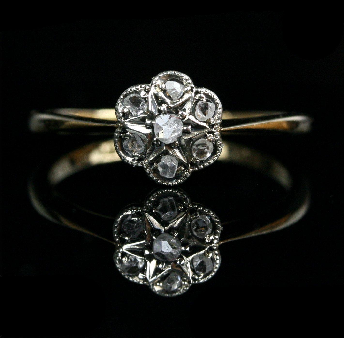 flower wedding ring Early Victorian 18k Gold Rose Cut Diamond Flower Cluster Engagement Ring