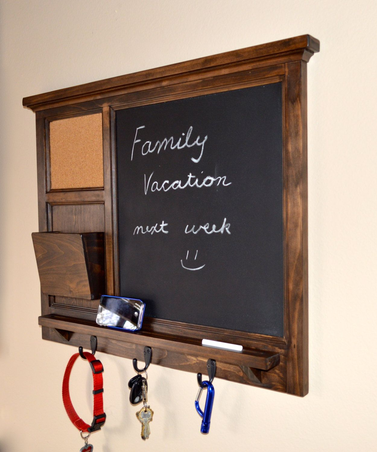 Hanging Mail And Key Organizer Chalkboard And Corkboard Mail Organizer Letter Holder Key
