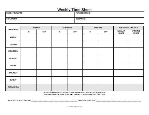Free Printable Weekly Time Sheet Office STuff Pinterest Free - printable employee time sheet