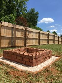 Square brick firepit with pea gravel base | Home Projects ...