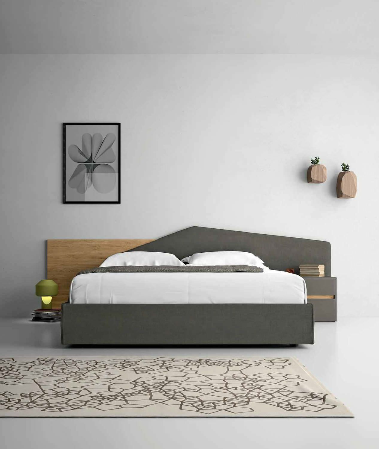 Minimal Bed Double Bed Contemporary With Upholstered Headboard