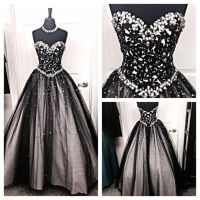 Black and silver stones prom dresses tulle sweetheart ...