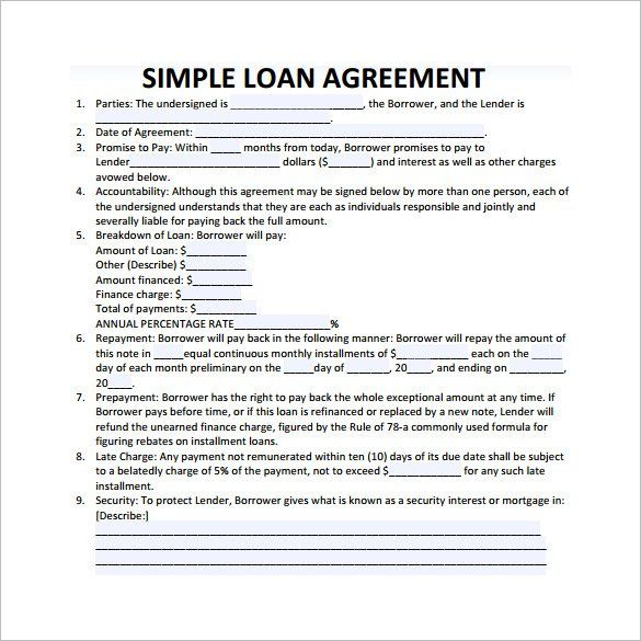 Simple Loan Contract Template , 26+ Great Loan Agreement Template - loan form template