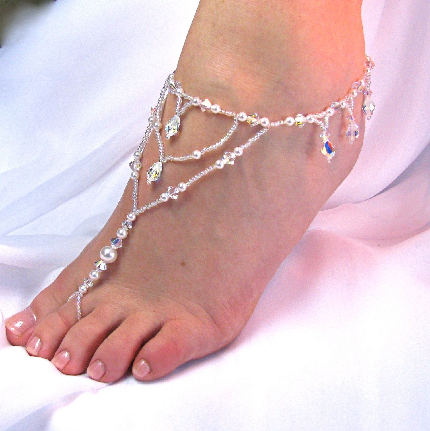 wedding sandals for bride Wedding Foot Jewelry Barefoot Sandal Bridal Beach Sandal Destination Wedding Beaded Sandal Beach Jewelry Bridal Accessory Design 1 fringe