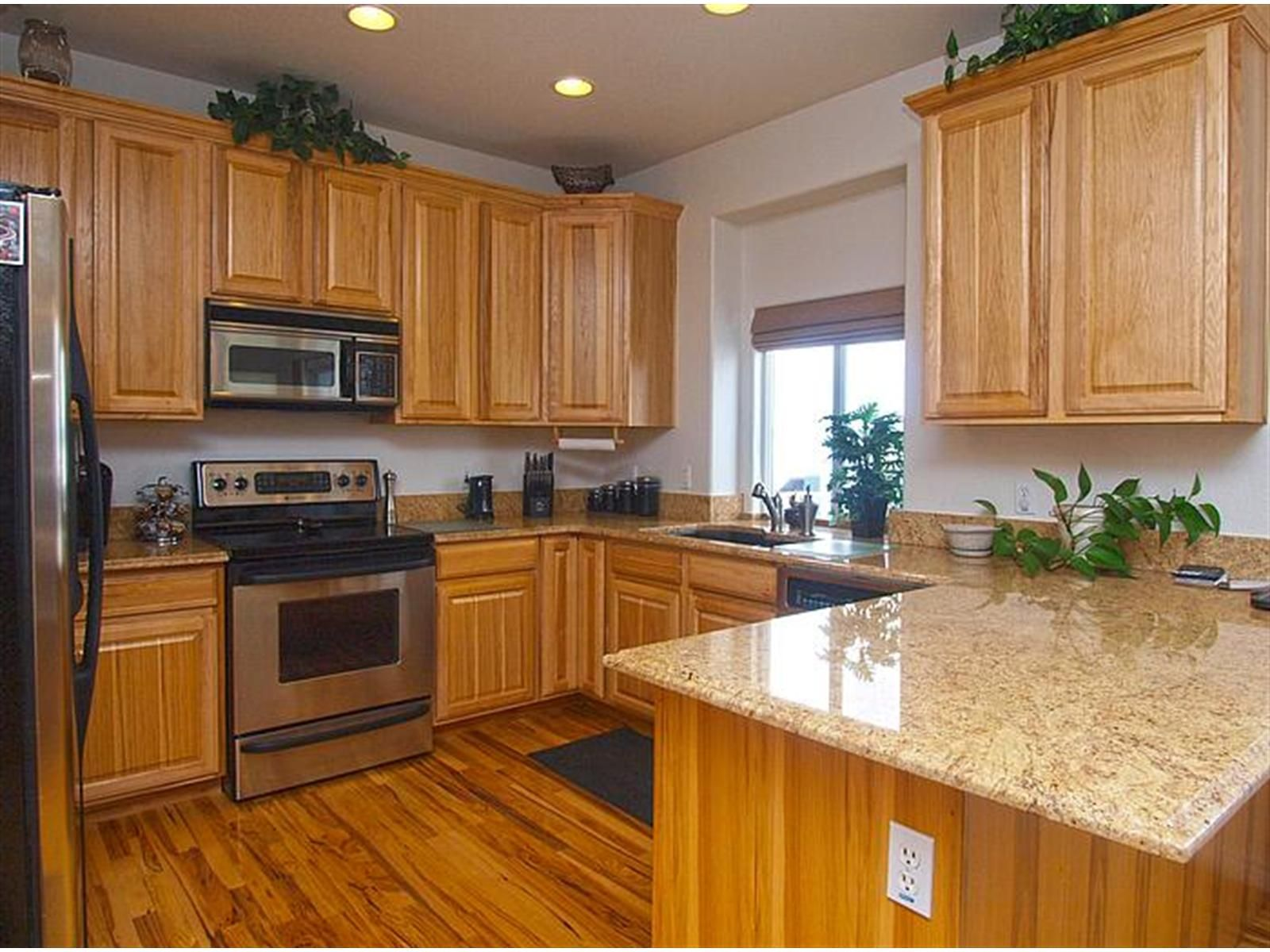 Denver Hickory Kitchen Cabinets Open Kitchen Plan With Hickory Cabinets And Hardwood