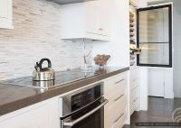Brown quartz kitchen countertop white kitchen cabinets ...