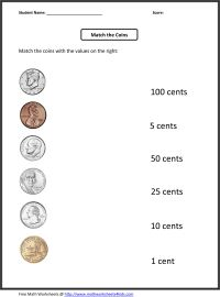 Free 1st grade worksheets | Match the coins and its values ...