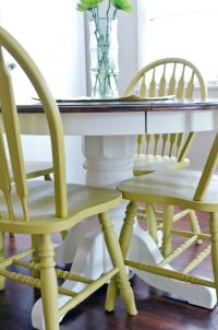 Use DIY chalk paint to refinish an old oak table and ...