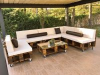 DIY Pallet Patio Sofa Set / Poolside Furniture | Pallet ...