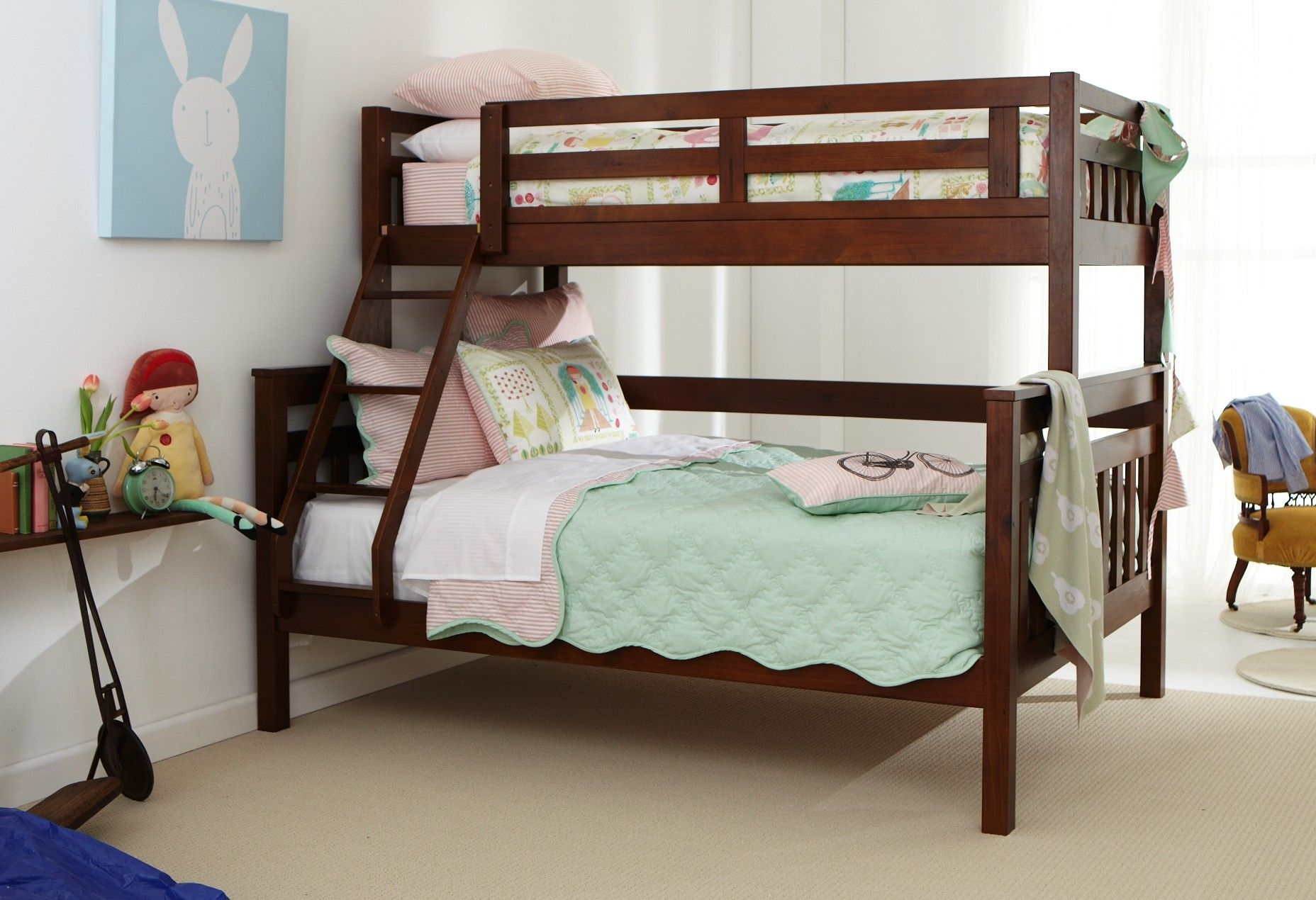 Kids Bed Accessories Aztec Trio Bunk Stylish Single Over Double Bunk Bed