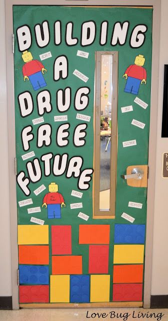 Red Ribbon Week door decoration with an anti