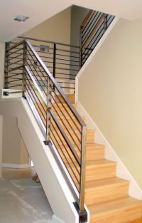 Modern Neutral Wooden Staircase With Minimalist Steel