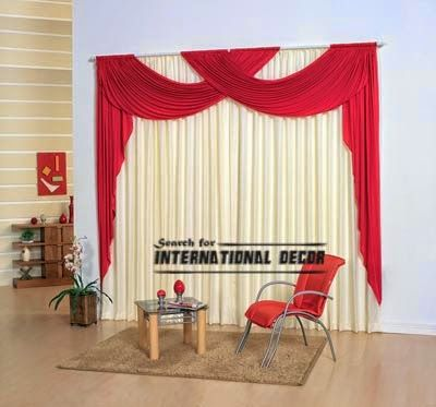 Modern red scarf curtain design for living room, red curtains - red curtains for living room