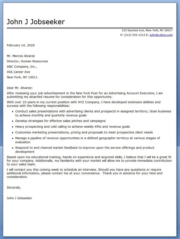 Advertising Account Executive Cover Letter Sample Creative - executive cover letter