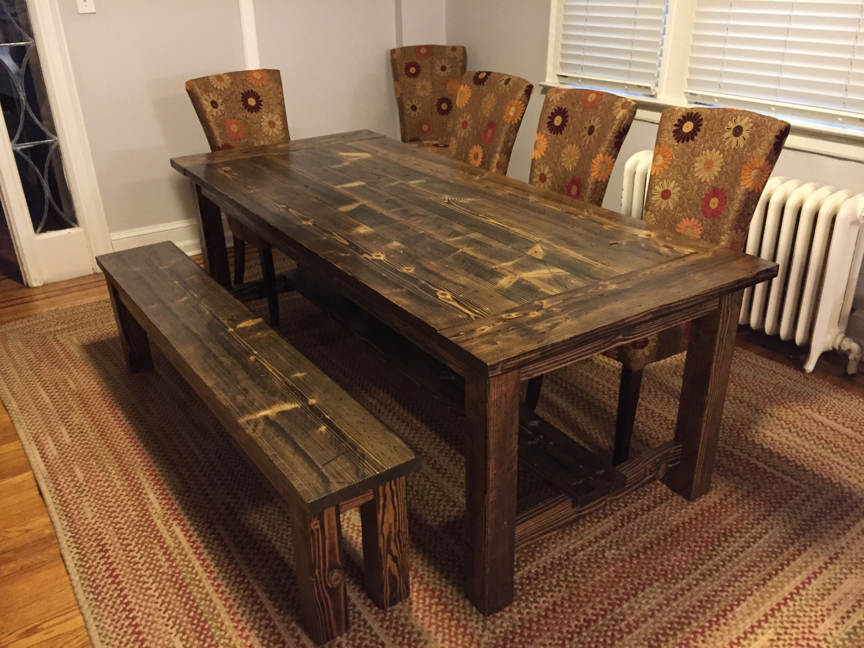 solid wood kitchen tables Solid wood farmhouse table with stretchers and breadboards Matching wooden bench Distressed Dark Walnut