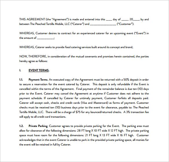 Sample Catering Contract PDF Template Free Download Catering - catering contract template