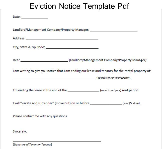 Sample Eviction Notice Template Pdf Excelabout Pinterest - eviction notice template