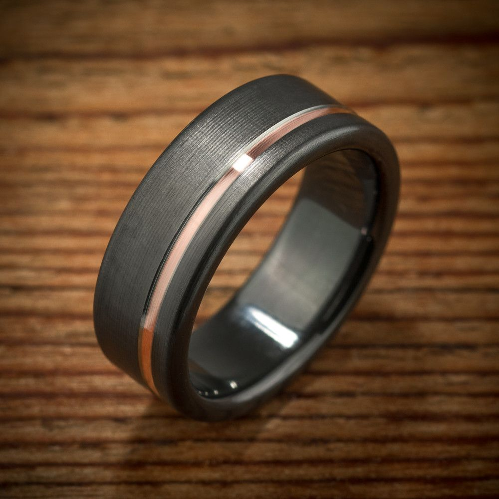black mens wedding rings Offset Rose Gold Stripe Black Zirconium Ring Unique Mens Wedding
