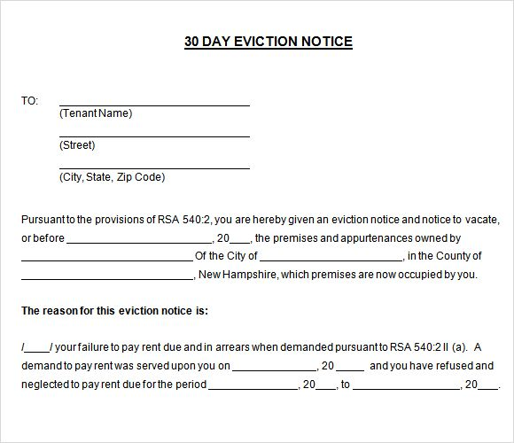Printable Sample 30 Day Notice To Vacate Template Form Real - notice form in word