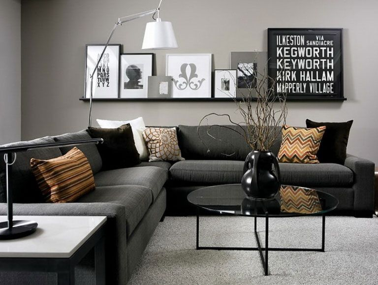 Living room in black, white and gray with nice Gallery wall - black and white living rooms
