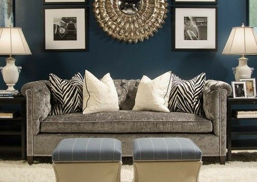 Navy blue, gray, black and white, goldnice combo Great Looks - gray and gold living room