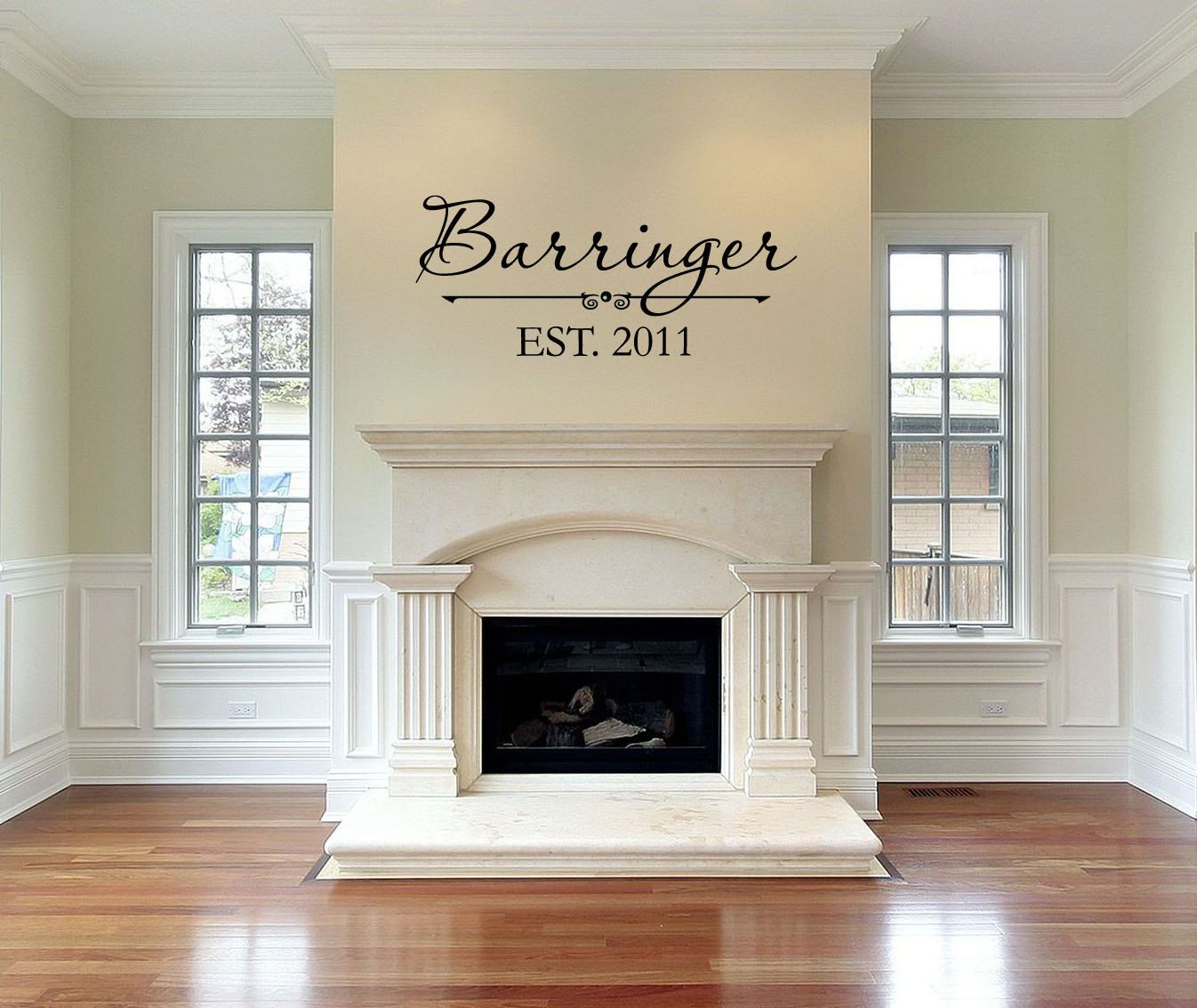 Fireplace Decal Personalized Family Last Name Vinyl Wall Decal With Date