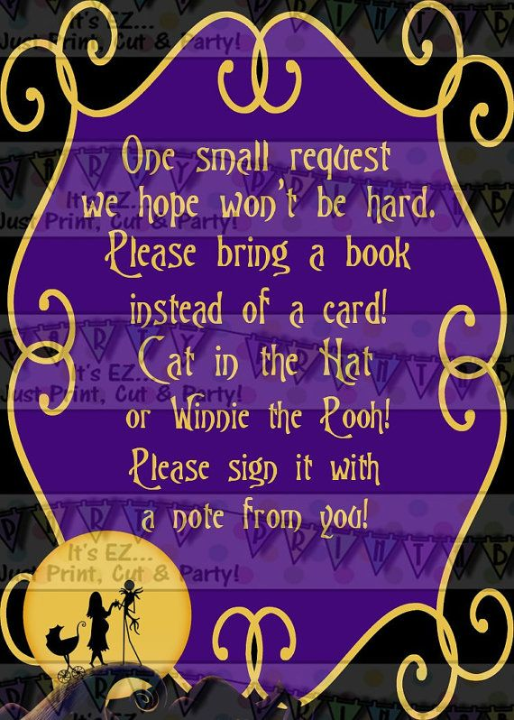 Nightmare before Christmas Bring a book insert or diaper raffle - nightmare before christmas baby shower decorations