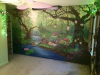 Enchanted forest bedroom mural during the day. # ...