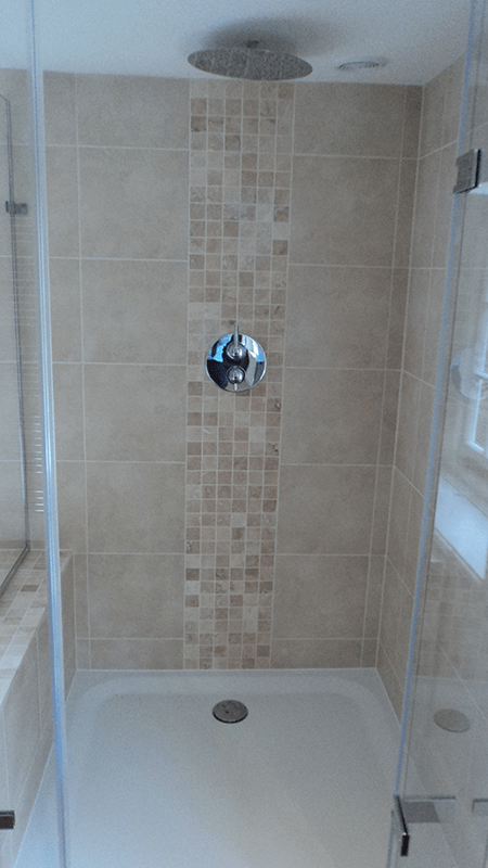 Mosaic Tiles Make A Great Feature Strip In A Shower Shown
