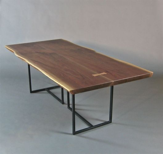 custom kitchen tables Custom Made Live Edge Dining Table Book Matched Walnut Slabs