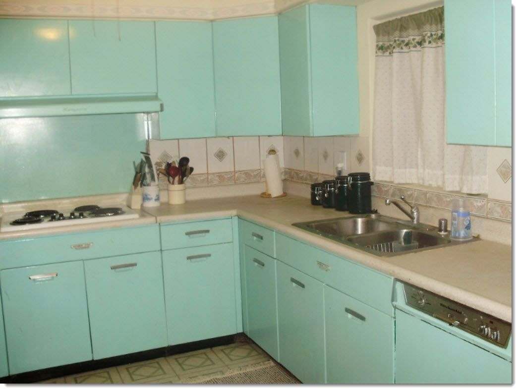 s kitchen cabinet turquoise kitchen cabinets Vintage s Kitchen With Por Aqua Turquoise Metal Cabinets