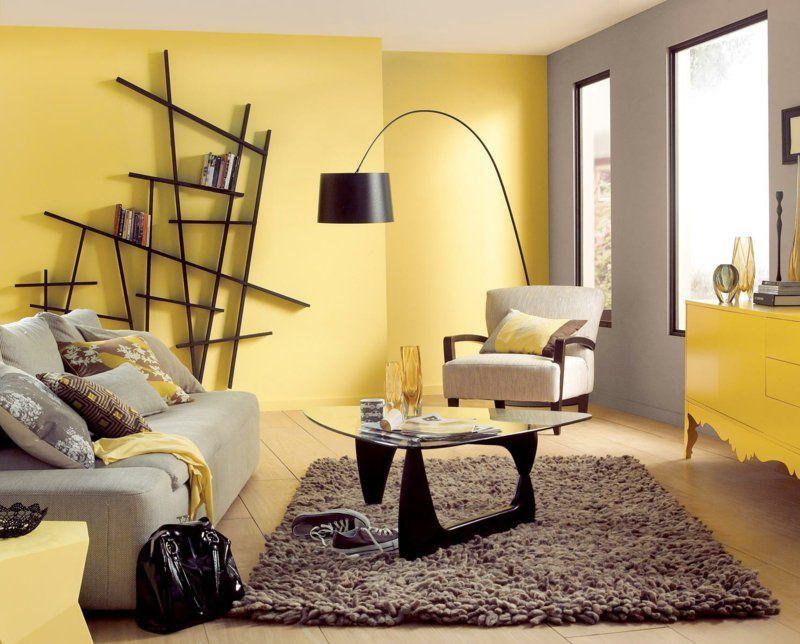Wohnzimmer farblich gestalten gelb  wandfarb ideen | hairstylish.info