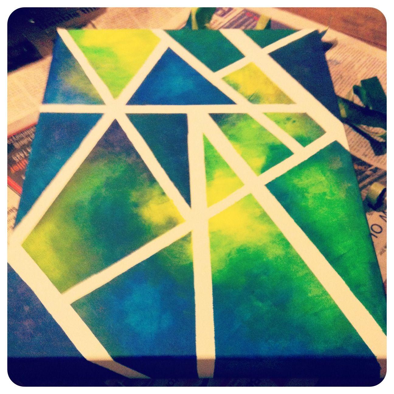 Easy canvas art using sponges and masking tape diy art