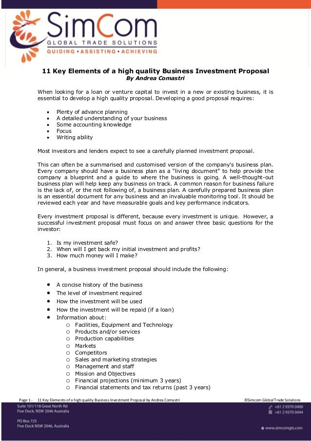 11 key elements of a high quality business investment proposal - real estate proposal template
