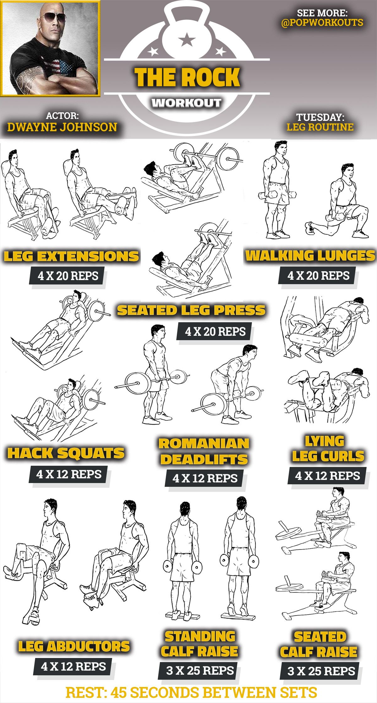 Gym Workout Chart For Chest For Men The Rock Legs Workout Routine Fitness Pinterest