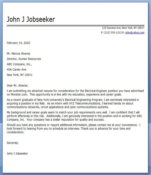 Electrical Engineering Cover Letter Examples Creative Resume - example cover page for resume