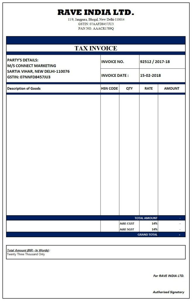 Image result for simple gst invoice format in excel word - australian invoice template