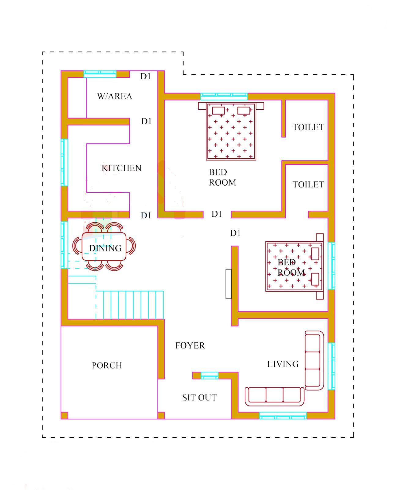 10 lakhs house plans in kerala