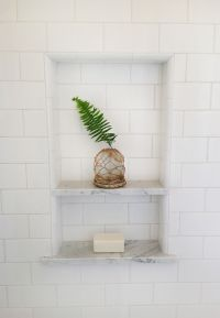 white subway tile shower niche fern leaf | Home ...