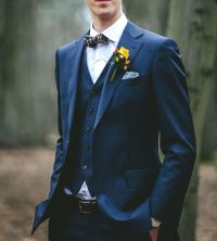 Three pieces wedding suit - navy, with bow tie | Bowtie ...
