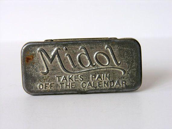 Vintage Medicine Tin Midol Menstrual Pain Relief Aqua By Vintage Medicine Tin Midol Takes Pain Off The Calendar