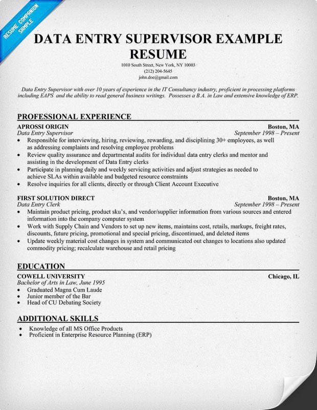 Data Entry Supervisor Resume (resumecompanion) Resume - resume for data entry